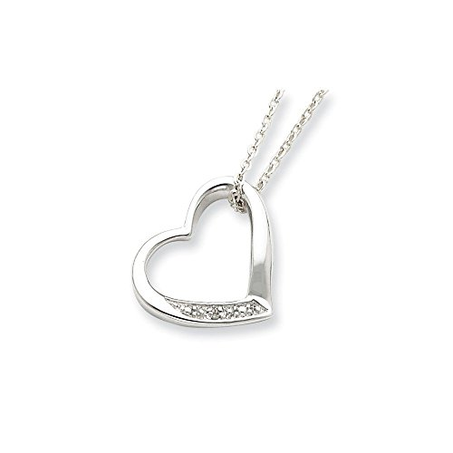 - Sterling Silver Heart with Diamond Necklace