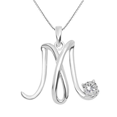 - JewelExclusive Sterling Silver .05 cttw White Diamond Initial M Pendant