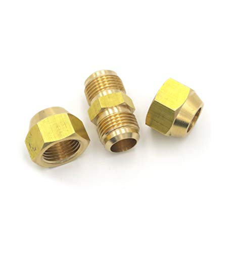 Air Conditioning Copper Pipe Extension for Joint Double Connector Intermediate Connection Head Free Welding Butt Copper Tube Diameter 6-19mm Flare Nut (3/8