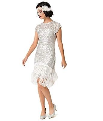 Unique Vintage 1920s Antique Silver Sequin Fringe Del Mar Flapper Dress