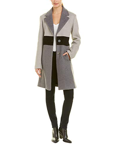 Laundry by Shelli Segal Womens Colorblocked Wool-Blend Coat, S, Grey
