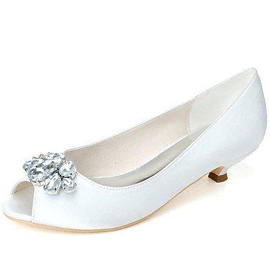 zapatos tacón dedo beige Rhinestone básica de gatito Best verano boda pie de mujer noche fiesta primavera marfil para boda bomba 4U Zapatos satén champán del peep qWZ4wOP
