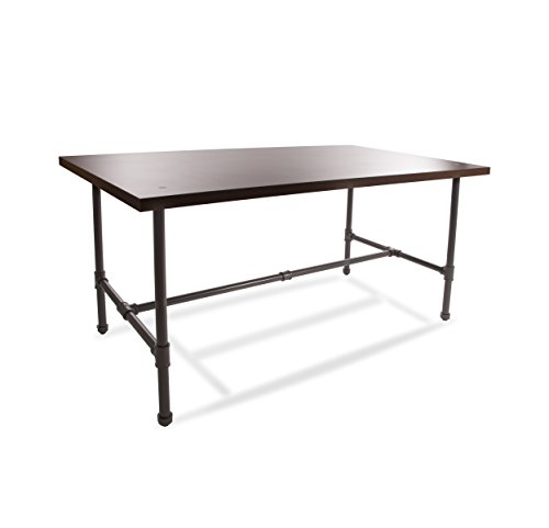 Econoco Commercial Pipeline Large Nesting Table with Top, Dark Brown Wood Grained Melamine Top by Econoco