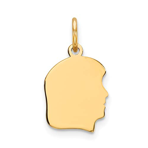 - 14k Yellow Gold Plain Small .035 Gauge Facing Right Engravable Girl Head Charm (10 x 18 mm)