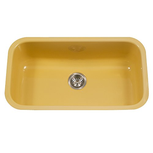 Houzer PCG-3600 LE Porcela Series Porcelain Enamel Steel Undermount Single Bowl Kitchen Sink, Large, Lemon