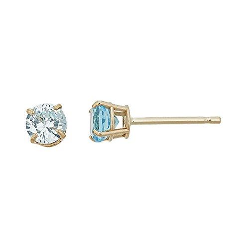 14K Gold Yellow 4MM Basket Set Genuine Sky Blue Topaz Stud Earrings
