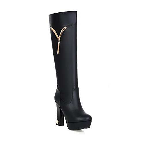 Round High High Heels top Toe Soft Solid Material AgooLar Black Women's Boots Closed gn8I5q