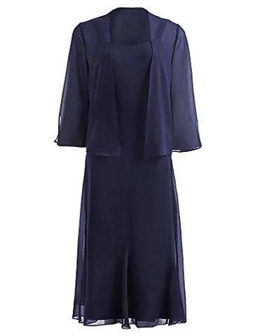 Women's Strapy Cocktail Jacket Dress Chiffon Formal Gown Navy Blue KK1059-1 - Cocktail Dress Jacket