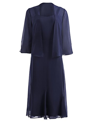 Kate Kasin Chiffon Mother Of Bride Gown and 3/4 Sleeve Cardigan Jacket Navy Blue KK1059-1
