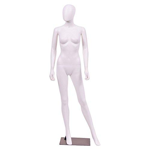 Giantex 5.8 FT Female Mannequin Egghead Manikin Metal Stand Plastic Full Body (White Style 2)