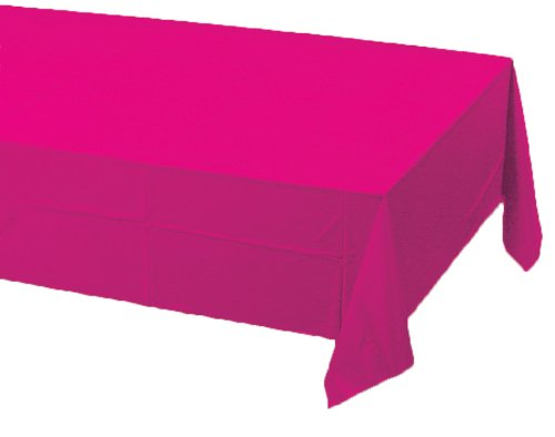 Pink Paper Tablecloths - Creative Converting Touch of Color Plastic Lined Table Cover, 54 by 108-Inch, Hot Magenta