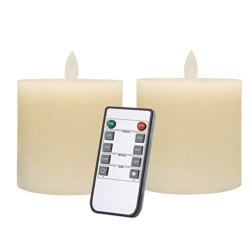Only-us Flameless Candles Set of 2 (3x3 inch) Flickering LED Candles Battery Operated with Remote Control Timers for Fireplace Bedroom Livingroom Party Dimmable Ivory Pillars Flat top (Led Flicker Luminara Candle)