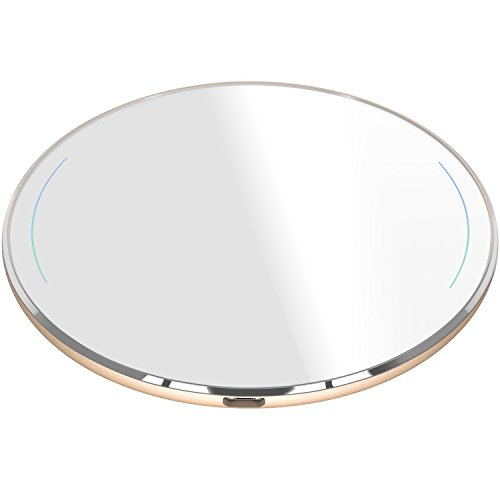 TOZO for iPhone X Wireless Charger, [Ultra Thin] Aviation Aluminum [Sleep-friendly] Wireless Fast Charging Pad for iPhone X / 10 / 8 / 8 Plus, Samsung Galaxy S8, S8+, Note 8 [Gold] – NO AC Adapter