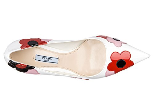 Prada decolletes decoltè scarpe donna con tacco pelle vernice fiori bianco