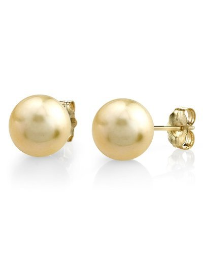 14K Gold Golden South Sea Cultured Pearl Stud Earrings - AAA Quality