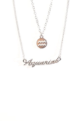 The Classic Sign Horoscope Gold Filled Zodiac Symbol Fashion Necklace (Aquarius_Silver) ()