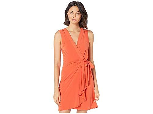 BCBGMAXAZRIA Sleeveless Wrap Dress Red Clay SM (US 4) from BCBGMAXAZRIA