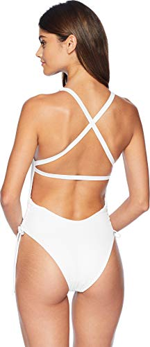 ac9354e33ef16 Women's Missy Ruched Side V-Neck One Piece Swimsuit, Ibiza Ribbed White, ...