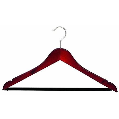 The Great American Hanger Company Wooden Suit Hangers with Black Velvet Bar, Cherry/Brushed Chrome Finish, Box of 100 by The Great American Hanger Company