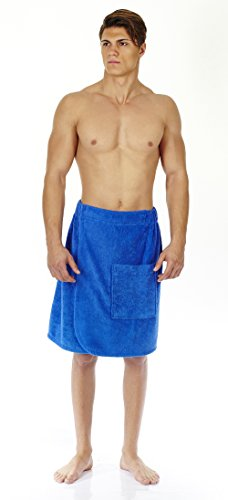 (Arus Men's Organic Turkish Cotton Adjustable Closure Spa Shower and Bath Wrap Royal Blue S/M)
