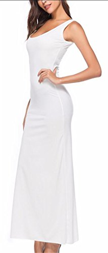 Crew Dresses Women Color Sleeveless White Solid Maxi Jaycargogo Sexy Neck E8Oxqd