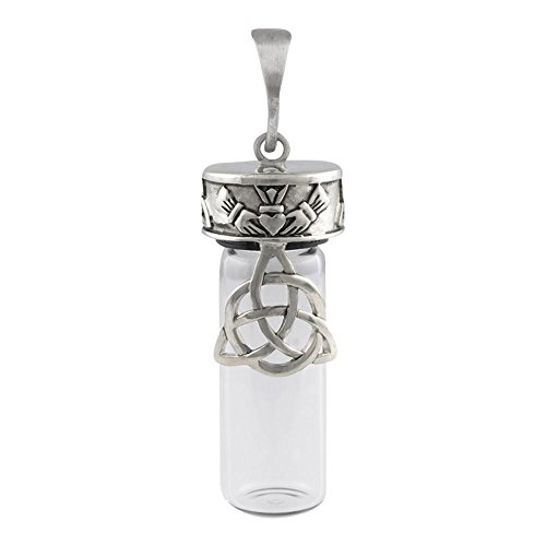 [Perfect Memorials Trinity Claddagh Clear Glass Memorial Jewelry] (Trinity Glasses)