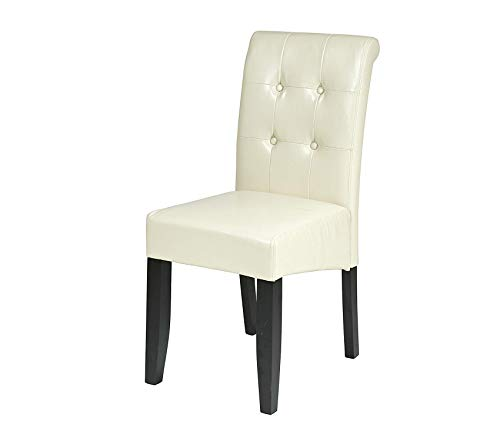 Оsp Dеsigns Bonded Leather Parson's Dining Chair with Espresso Finish Legs and Tufted Back, Cream