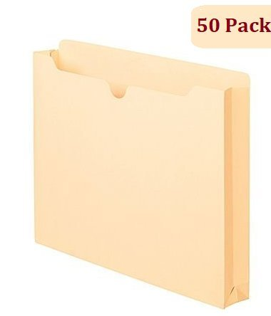 "1InTheOffice Manila Expanding File Jacket, 1"", Letter,""50 Pack"""