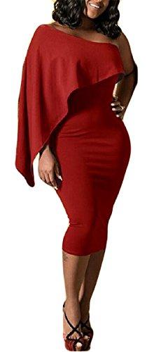 one shoulder batwing sleeve dress - 9