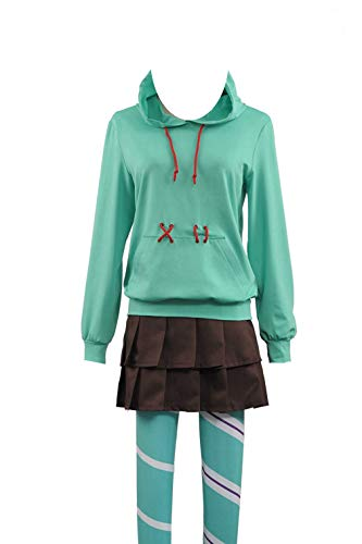 Ralph Breaks The Internet Wreck-It Ralph Top Pants Halloween Cosplay Costume (X-Large, Green Female1420) -
