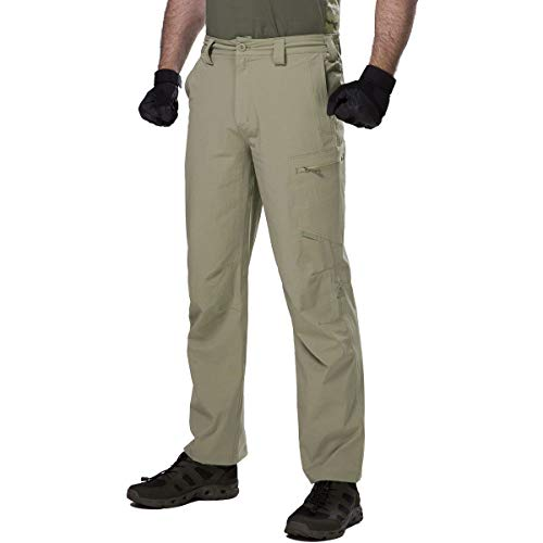 FREE SOLDIER Men's Outdoor Convertible Pants Lightweight Quick Dry Nylon Tactical Pants (Mud Color, 34W)
