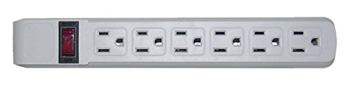 C&E Surge Protector, Flat Rotating Plug, 6 Outlet, Horizontal Outlets, Plastic, Power Cord, 4 Feet, Gray, ()