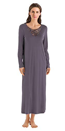 HANRO Womens Ella Long Sleeve Long Gown 76447