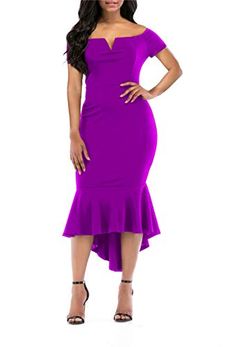 onlypuff Fishtail Dresses for Women Bodycon Midi Dress Cocktail Party Dresses Short Sleeve Purple L