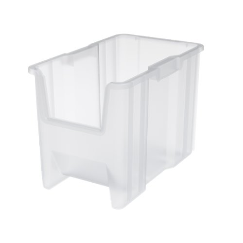 Hopper Store Bins - Akro-Mils 13014 Stak-N-Store Stacking Hopper Front Plastic Storage Bin, Clear, Case of 4