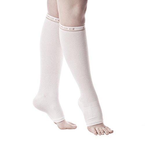 DJMed Leg Skin Protectors – Protective Leg Sleeves, For Sensitive Skin, Protect from Tears & Bruising – Pair, White (Large)