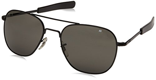 (AO Eyewear Original Pilot Sunglasses 52mm Frames with Bayonet Temples and True Color Grey Glass Lenses (OP52S.BA.TC))