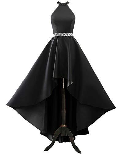 Changuan Halter High Low Evening Party Dress Satin Homecoming Prom Dresses Sleeveless Black-4 (Satin Halter Dress Wedding)