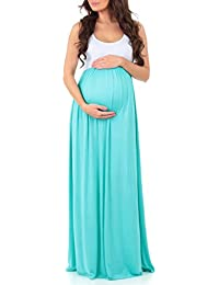 Women's Sleeveless Ruched Color Block Maxi Maternity Dress - Made in USA