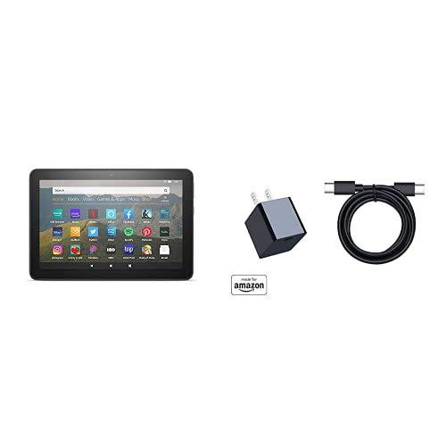 Fire HD 8 Essentials Bundle including Fire HD 8 Tablet (Black, 64GB) Ad-Supported + 15W USB-C Fast Charger