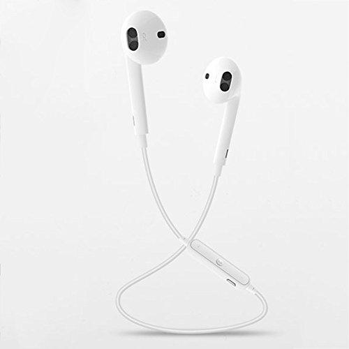 Beautyonline Bluetooth Headphones Sports Earphones Waterproof HD Stereo Sweatproof Hands-Free Calling Headset (White)