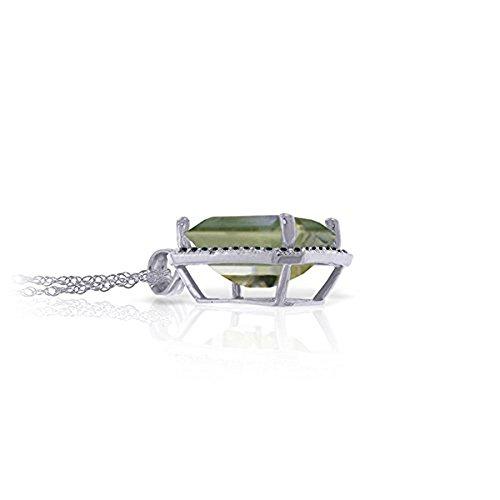 Green Amethyst Diamond Necklace - Galaxy Gold 14K 18