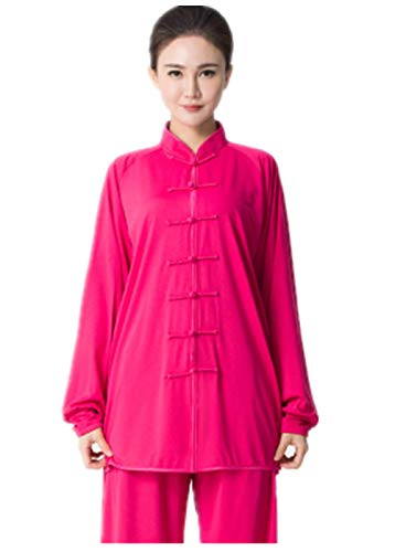 BJSFXDKJYXGS Tai Chi Uniform Luxurious Milk Silk Stretch Taichi Suits Traditional Tai Chi Clothing for Your Tai Chi Exercise(Milk Silk Rose, Medium)