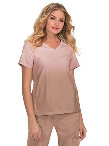 KOI Lite Women's Reform V-Neck Ombre Print Scrub Top (Rose Smoke/Latte, X-Small) ()