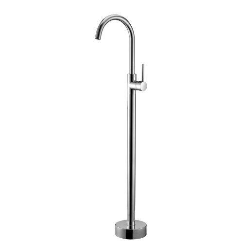 BDYJY ® Modern Floor Mount Freestanding Bathtub Filler Mixer Tap in Chrome