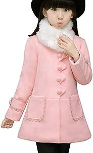 Ankoee Big Girls' Princess Outwear with Faux Fur Girl Winter Coat Ja