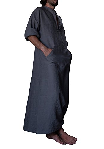Karlywindow Men's Abaya Muslim Thobe Thoub Abaya Robe Islamic Arab Kaftan (Medium, Dark Grey) by Karlywindow (Image #1)