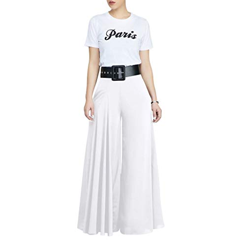 VEZAD Store Wide Leg Pants Women's Solid Pleated Loose Casual Comfortable Trousers White