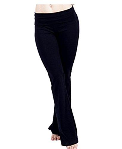 Hollywood Star Fashion Foldover Contrast Waist Bootleg Flare Yoga Pants (X-Large, Black)