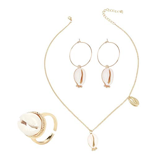 Multi Color Shell Ring - Hukai 3 Pcs/Set Women Jewelry Set Fashion Shell Earrings Ocean Conch Alloy Necklace Ring Combination Elegant Ladies Jewellery Gift